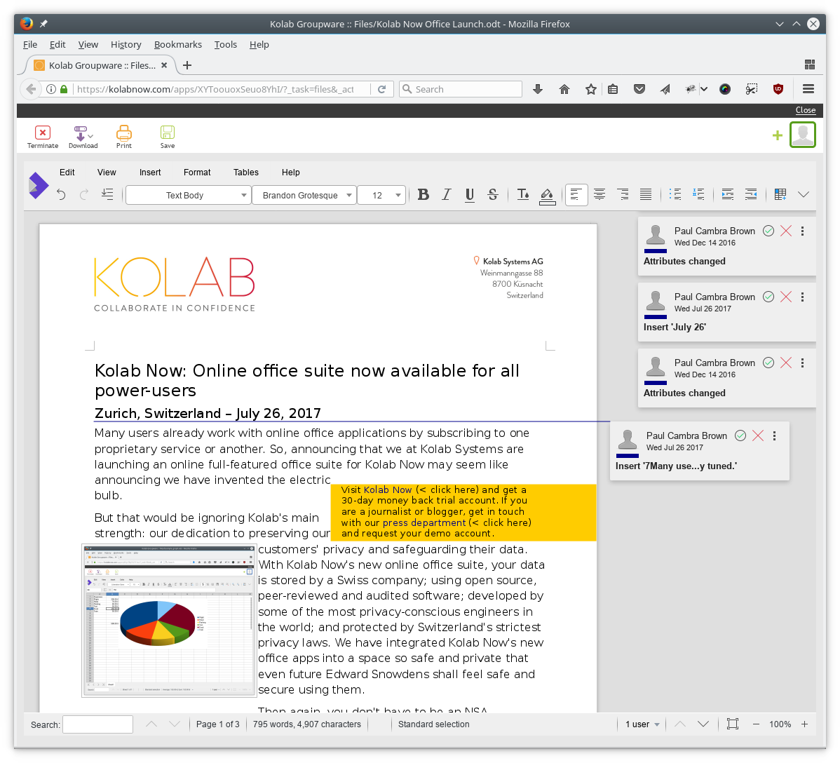 Write and edit ODF documents directly in your Kolab Now account.